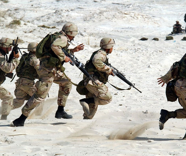 troops in sand